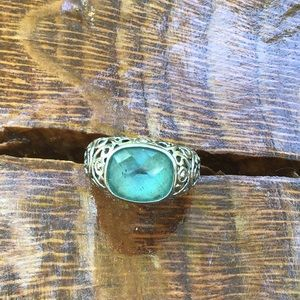 Genuine blue topaz and stainless ring size 8